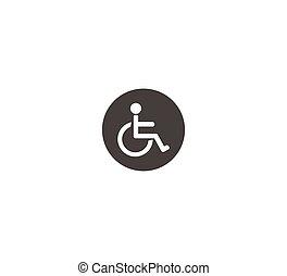 vecteur, plaque, handicapé, toilet., salon