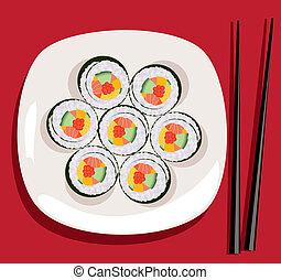 vecteur, plaque, sushi, baguettes