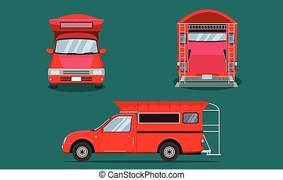 vecteur, plastique, voiture, dos, mai, chiang, pick-up, grille, eps10, passager, côté, rouges, acier, camion, illustration, vue, couverture, transport, sommet, devant
