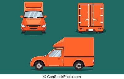 vecteur, plastique, voiture, dos, mai, chiang, pick-up, grille, eps10, passager, orange, livraison, côté, acier, camion, illustration, vue, couverture, transport, sommet, devant