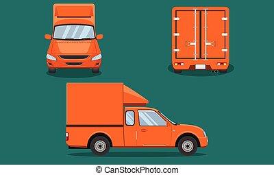 vecteur, plastique, voiture, dos, mai, chiang, pick-up, grille, eps10, taxi, passager, orange, livraison, côté, acier, camion, illustration, vue, transport, couverture, sommet, devant