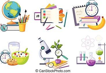 vecteur, plat, école, ensemble, theme., apparenté, dos, objets, education, compositions