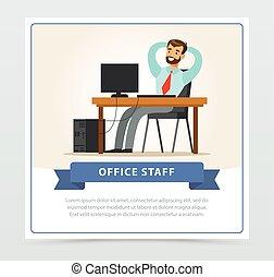 vecteur, plat, barbu, sien, séance, garçon, caractère, administrator., système, head., derrière, informatique, tenant mains, table, programmeur, homme, ou, heureux