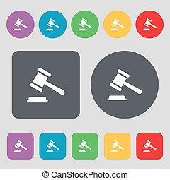 vecteur, plat, buttons., coloré, icône, enchère, signe.,...