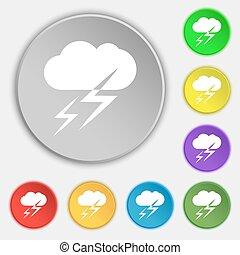 vecteur, plat, buttons., signe., temps, huit, symbole, icône