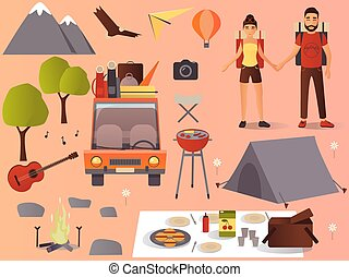 vecteur, plat, camping, randonnée, icônes, ensemble
