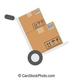 vecteur, plat, carton, 10., graphiques, coloré, solide, modèle, livraison, signe, eps, boîtes, fond, camion, chariot, logistique, icône, blanc, main