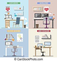 vecteur, plat, concept, bureau, fonctionnement, icônes, ...