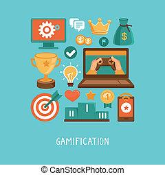 vecteur, plat, concept, -, gamification