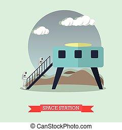 vecteur, plat, concept, illustration espace, station, style.