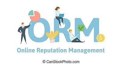 vecteur, plat, concept, illustration., isolé, icons., lettres, arrière-plan., orm, keywords, ligne, blanc, management., réputation