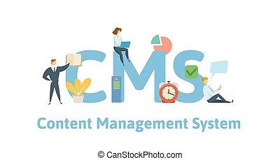 vecteur, plat, concept, lettres, illustration., system., isolé, icons., contenu, arrière-plan., gestion, cms, blanc, keywords