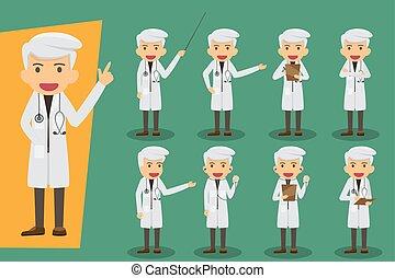 vecteur, plat, conception, ensemble, groupe, pose., staff., gens, monde médical, médecins, characters., concept, divers, médecins, santé, mâle, illustration.
