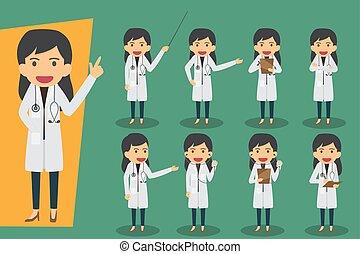 vecteur, plat, conception, ensemble, groupe, pose., staff., gens, monde médical, médecins, characters., concept, divers, femme, médecins, santé, illustration.