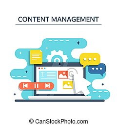 vecteur, plat, créer, partage, illustration., commercialisation, -, contenu, concept, numérique, gestion, blogging, design.
