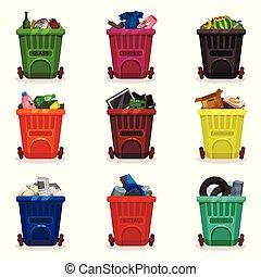 vecteur, plat, différent, ensemble, déchets, icônes, recyclage, waste., apparenté, plastique, thème, tri, casiers, récipients, déchets ménagers, wheels., types