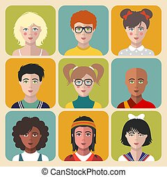 vecteur, plat, différent, ensemble, portraits, app, filles, icons., enfants, garçons, gosses, faces, avatars., nationalité, style.