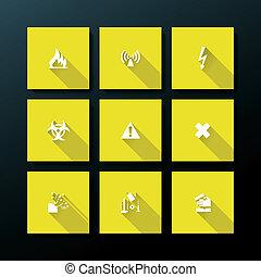 vecteur, plat, ensemble, avertissement, icône