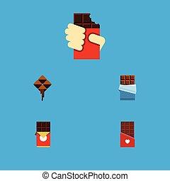 vecteur, plat, ensemble, barre, elements., formé, formé, doux, boîte, inclut, aussi, autre, délicieux, objects., chocolat, icône