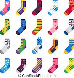 vecteur, plat, ensemble, bonneterie, chaud, chaussettes, chaussette, isolé, long, pieds, gosses, icon., sport, rayé, vêtements