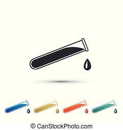 vecteur, plat, ensemble, coloré, flacon, tube, -, isolé, icons., chimique, arrière-plan., éléments, illustration, essai, laboratoire, blanc, icône, design.