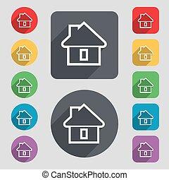 vecteur, plat, ensemble, coloré, maison, signe., long, boutons, 12, icône, shadow., design.