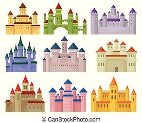 vecteur, plat, ensemble, coloré, mobile, forteresses, royal, élevé, grand, enfants, jeu, livre, towers., ou, éléments, castles.