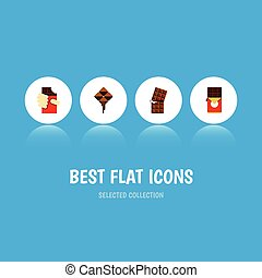 vecteur, plat, ensemble, elements., dessert, cape, inclut, aussi, autre, doux, délicieux, objects., barre chocolat, icône, cape