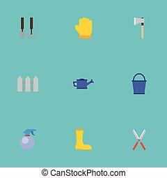 vecteur, plat, ensemble, elements., icônes, outils, latex, bottes, arrosage, inclut, caoutchouc, aussi, barrière, symboles, objects., agriculture, autre