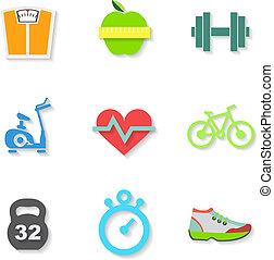 vecteur, plat, ensemble, icons., fitness