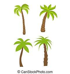vecteur, plat, ensemble, palmiers
