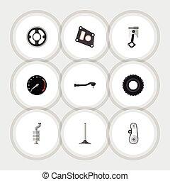 vecteur, plat, ensemble, technologie, elements., auto, silencieux, inclut, aussi, conduire, autre, tachometr, silencieux, entrée, objects., icône