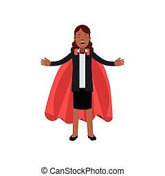 vecteur, plat, femme, superhero, business, large, carrière, jupe, caractère, bras, leadership., jeune, veste, cape., open., conception, africaine, noir, dame, dessin animé, rouges