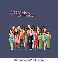 vecteur, plat, femmes, groupe, illustration, grand, communauté