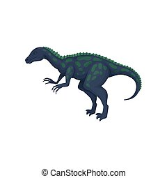 vecteur, plat, géant, court, body., antérieur, dinosaure, queue, préhistorique, conception, long, animal, taches, pattes, ornithosuchus.