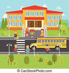 vecteur, plat, gosses école, illustration., elements., dos, infographic, autobus, aller, enfants