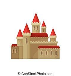 vecteur, plat, grand, towers., moyen-âge, grand, royal, élément, élevé, clair, livre, roof., château, enfants, forteresse, rouges
