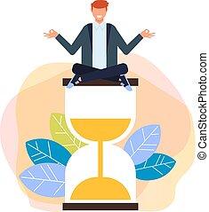 vecteur, plat, graphique, relâcher, concept., travail, isolé, illustration, gestion, conception, temps, dessin animé