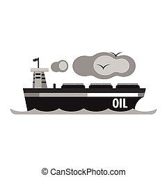 vecteur, plat, huile, transport, products., ship., production, illustration, pétrolier