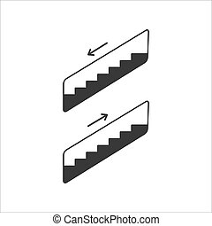 vecteur, plat, icône, escalator, moderne, illustration, style.