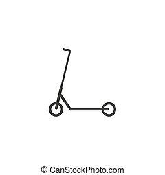 vecteur, plat, icon., transport, scooter, illustration, design.