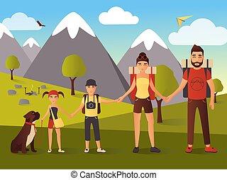 vecteur, plat, illustration, de, famille heureuse, dans montagnes