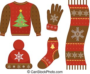 vecteur, plat, illustration., hiver, icône, sweater., ensemble, gants, vêtements, patterns., isolé, collection, noël, arrière-plan., chaud, chapeau, blanc, écharpe, style., habillement