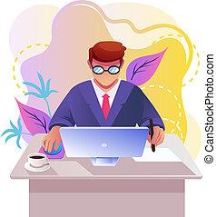 vecteur, plat, indépendant, graphique, espace de travail, employé bureau, ordinateur portable, travail, caractère, isolé, illustration, dessin animé, informatique, conception, lieu travail, étudiant, homme affaires, pc., concept., homme