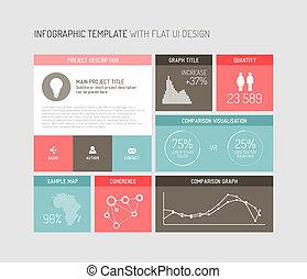 vecteur, plat, interface utilisateur, infographic