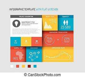 vecteur, plat, interface utilisateur, (ui), infographic, gabarit, /, conception