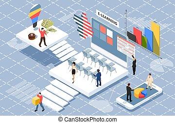 vecteur, plat, isométrique, concept, bannière, business, toile, être, characters., annuel, utilisé, infographics, arrière-plan., report., collaboration, illustration, ligne, blanc, bannière, boîte
