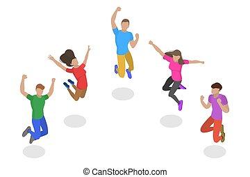 vecteur, plat, isométrique, concept, success., gens, sauter, équipe, heureux