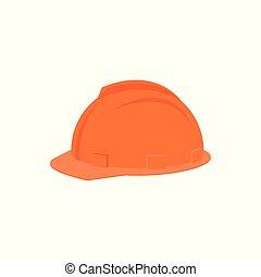 vecteur, plat, protecteur, casque, personnel, plastique, équipement, industriel, sécurité, worker., orange, construction, headgear., icône