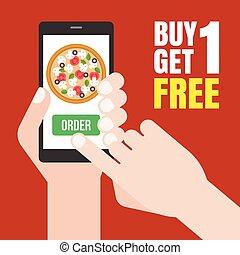 vecteur, plat, smartphone, achat, obtenir, nourriture, bouton, une, livraison, e-commerce, concept, conception, poussée, tenue, ligne, gratuite, vert, promotion, main, ordre, pizza